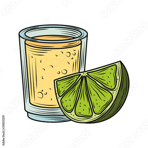 Fototapeta mexican food and drink tequila shot with lime traditional vintage engraved color