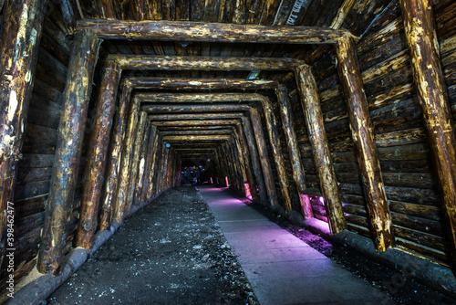 Fotografie, Obraz Coal mining - wooden support
