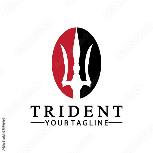Fotografia Vintage Trident Spear of Poseidon Neptune God Triton King logo design