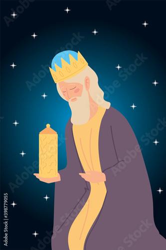 Vászonkép nativity caspar wise king with gift, stars background