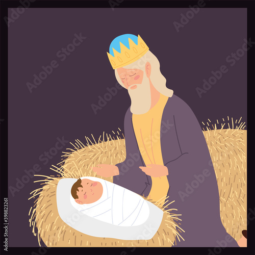 nativity baby jesus caspar wise king with gift manger Poster Mural XXL