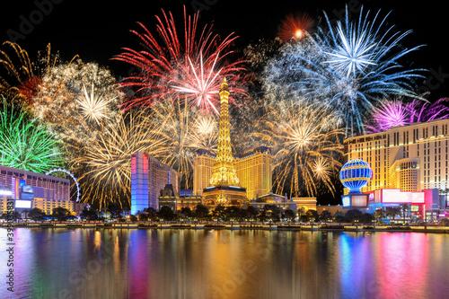 Canvas New Year celebration fireworks on Las Vegas strip, Nevada, USA.