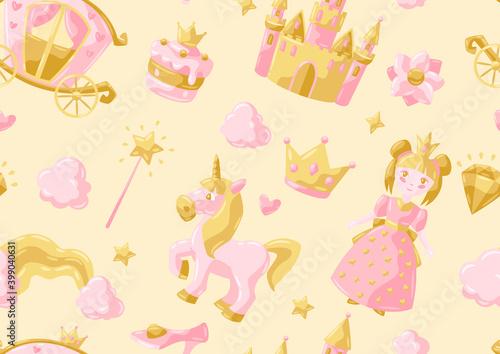 Vászonkép Princess party items seamless pattern.