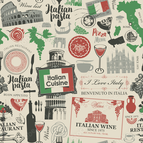 Abstract seamless pattern on the theme of Italy and Italian cuisine in the colors of the Italian flag Fototapeta