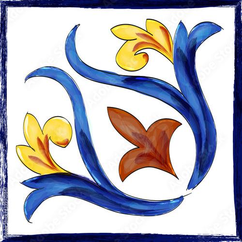 Canvas Mattonella artistica in ceramica di Caltagirone