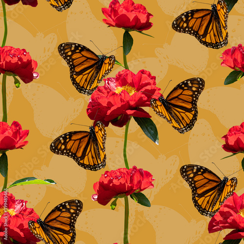 Photo Colorful floral seamless pattern with red peony flowers and monarch butterflies collage on yellow background