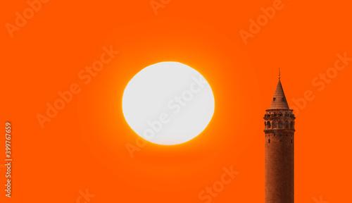 Leinwand Poster Galata Tower at amazing sunset - Istanbul, Turkey