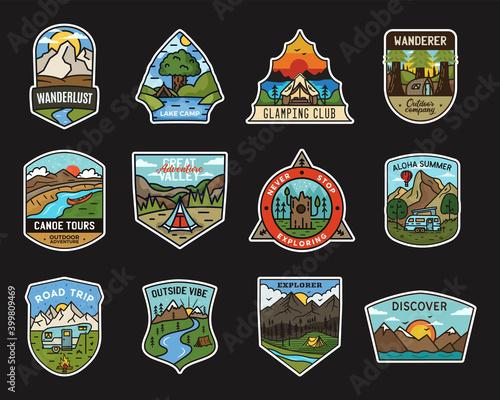 Canvas-taulu Camping adventure stickers design bundle