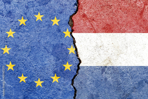 Wallpaper Mural EU and Dutch flag on a cracked wall-politics, war, conflict concept