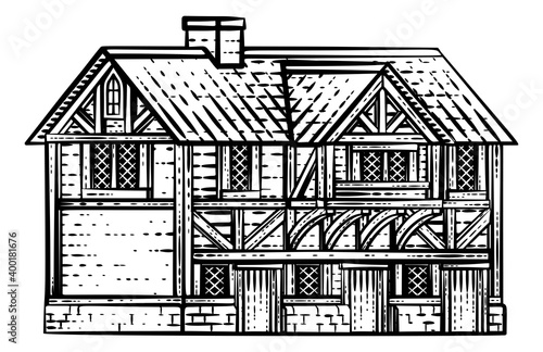 Obraz na plátne An old medieval house, row of houses or inn building drawing or map design eleme