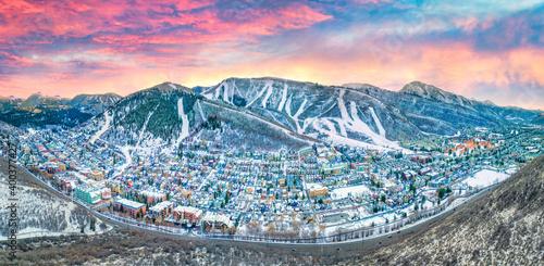 Canvas Print Park City, Utah, USA Downtown Drone Skyline Aerial