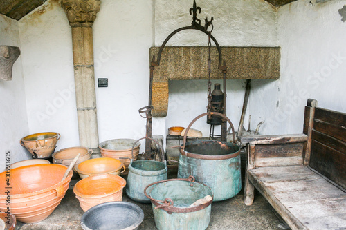Old kitchen with its menage from the castle of San Anton in La Coruña