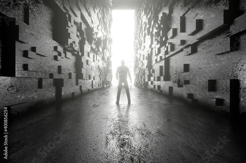 Foto mural 3D illustration of man standing in corridor against illuminated space station gate