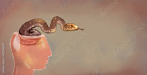 Photo illustration of a glass head with a snake inside