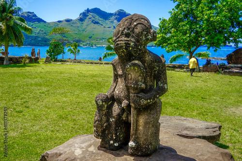 Stampa su Tela French Polynesia, Marquesas, Nuku Hiva island, Tiki statue on ritual places