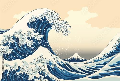 The great wave off kanagawa painting reproduction vector illustration Fototapeta