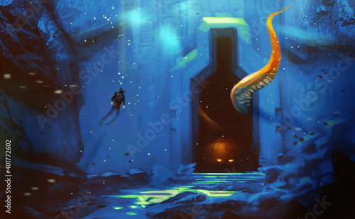 Canvas Print Digital illustration painting design style a man diving to ancient cave, against giant monster