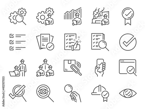 Canvas Print Inspection line icon set
