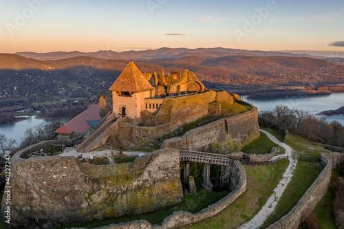 Obraz na plátne Hungary - The historical Visegrad Castle near Danube river from drone view at su