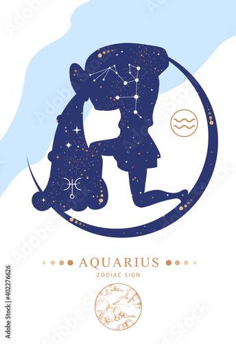 Fototapeta Modern magic witchcraft card with astrology Aquarius zodiac sign