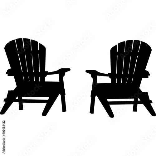 Stampa su Tela Adirondack chairs Silhouette Vector