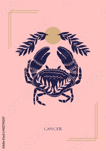 Obraz na plátně Zodiac sign Cancer in boho style on the pink background