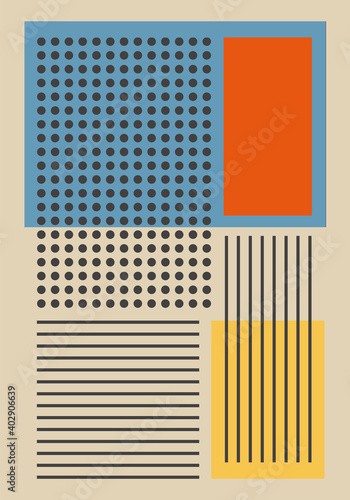 Wallpaper Mural Wall decoration, vintage 20s geometric design art poster, vector template with circles and stripes, rectangles modern hipster style