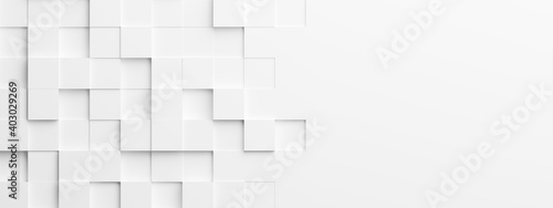 Leinwand Poster Random shifted white cube boxes block background wallpaper banner with copy spac