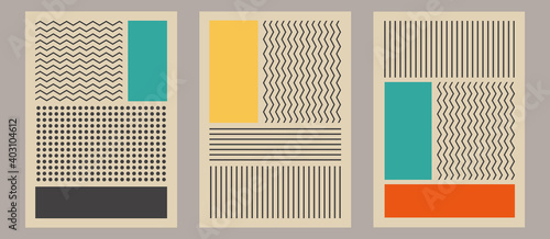 Photo Trendy set of abstract creative minimalist artistic composition with rectangles and stripes pattern ideal for wall decoration, as postcard or brochure design, vector illustration