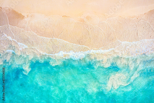 Wallpaper Mural Top view aerial drone photo of ocean seashore with beautiful turquoise water and sea waves
