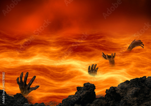 Canvas Print Conceptual hell with wicked souls tormented in a burning lake of fire
