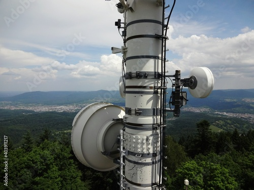 Photo Telecommunications On Merkur Wirh View Of The Rhine Valley