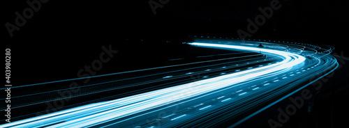 Photo blue car lights at night. long exposure