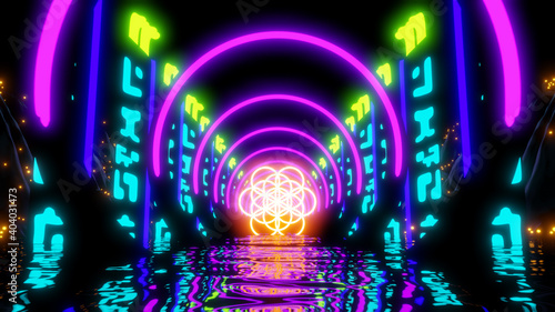 Fotografia Abstract Flower of Life Sci-fi River Neon Lights Motion Abstract Relaxing Music