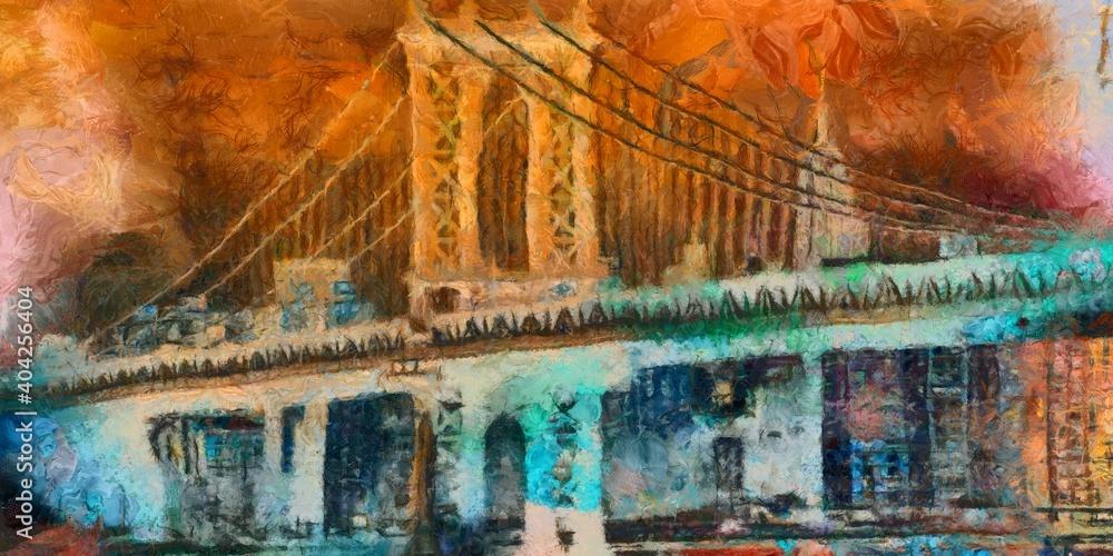Manhattan bridge colorful painting
