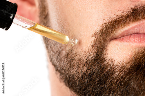 Stampa su Tela Male face and pipette with a oil for a beard growth