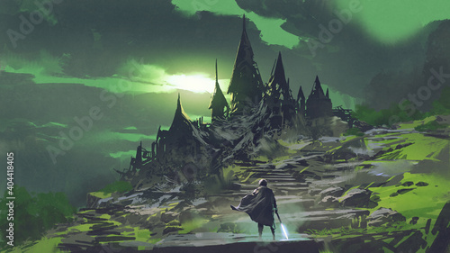 man looking at the mysterious abandoned castle with a green sky in the background, digital art style, illustration painting