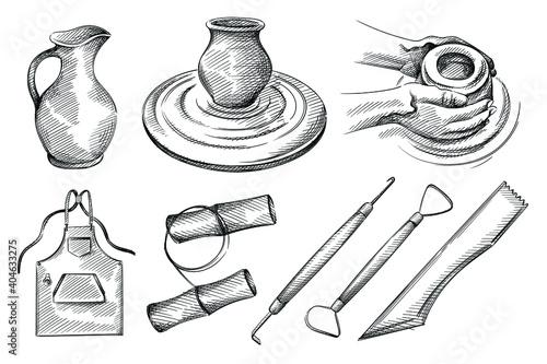 Stampa su Tela Hand drawn sketch set of pottery, ceramics tools