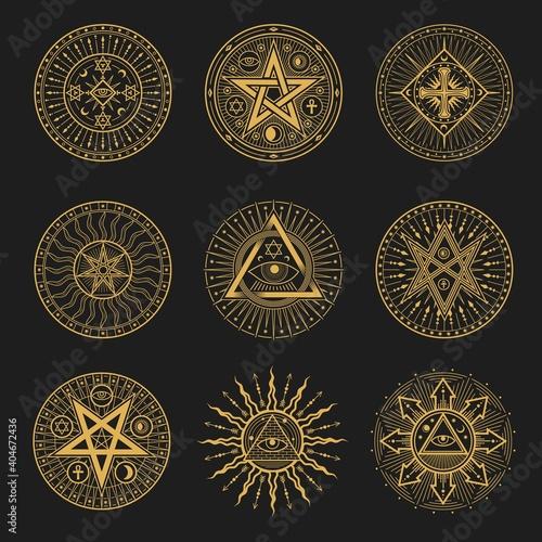 Obraz na płótnie Occult signs, occultism, alchemy and astrology symbols