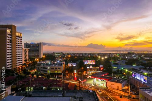 Canvas Print View of the city during sunset in Kingston, Jamaica.