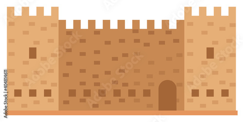 Canvas Print Medieval fortress with towers and walls vector illustration