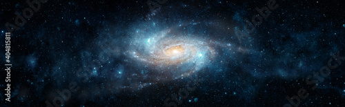 Photo A view from space to a spiral galaxy and stars