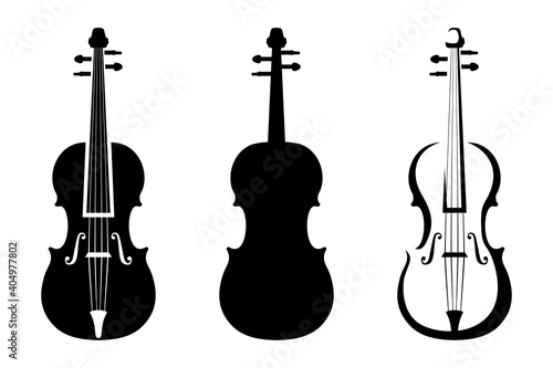 Photo Set of three black silhouettes of violins isolated on a white background