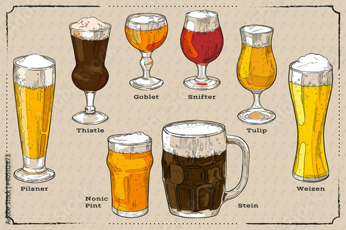Canvas Print A set of different types of beer glasses