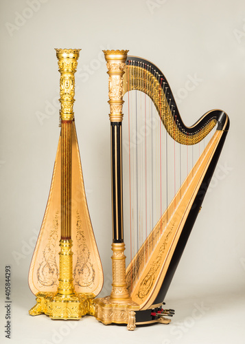 Canvas-taulu Close-up Of Golden Harp Against White Background