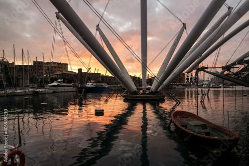 Fotografie, Obraz Bridge Over River Against Sky During Sunset