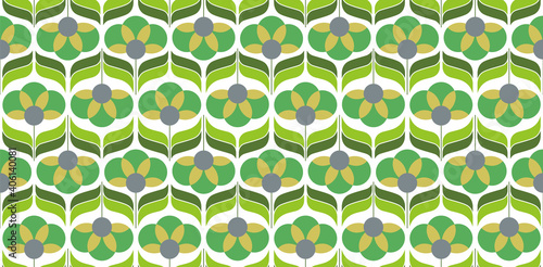 Wallpaper Mural 70's retro seamless wallpaper pattern material / vector illustration
