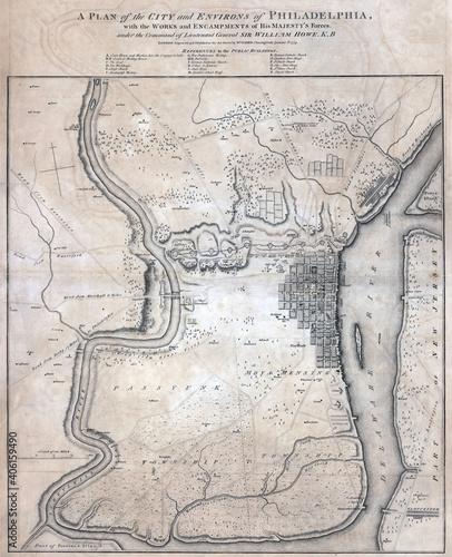 Valokuva 18th-century vintage map of Philadelphia city plan