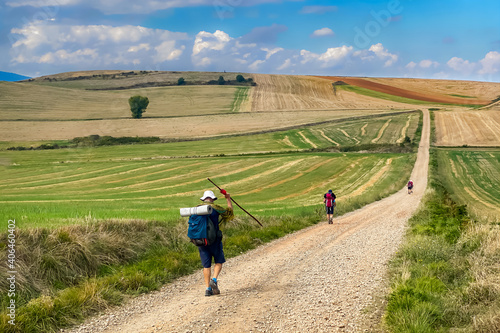 Fotografering Pilgrims Walking the Picturesque Landscapes of Fields and Rolling Hills of the L
