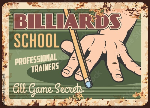 Obraz na płótnie Billiards school metal plate rusty, pool snooker game, vector retro poster